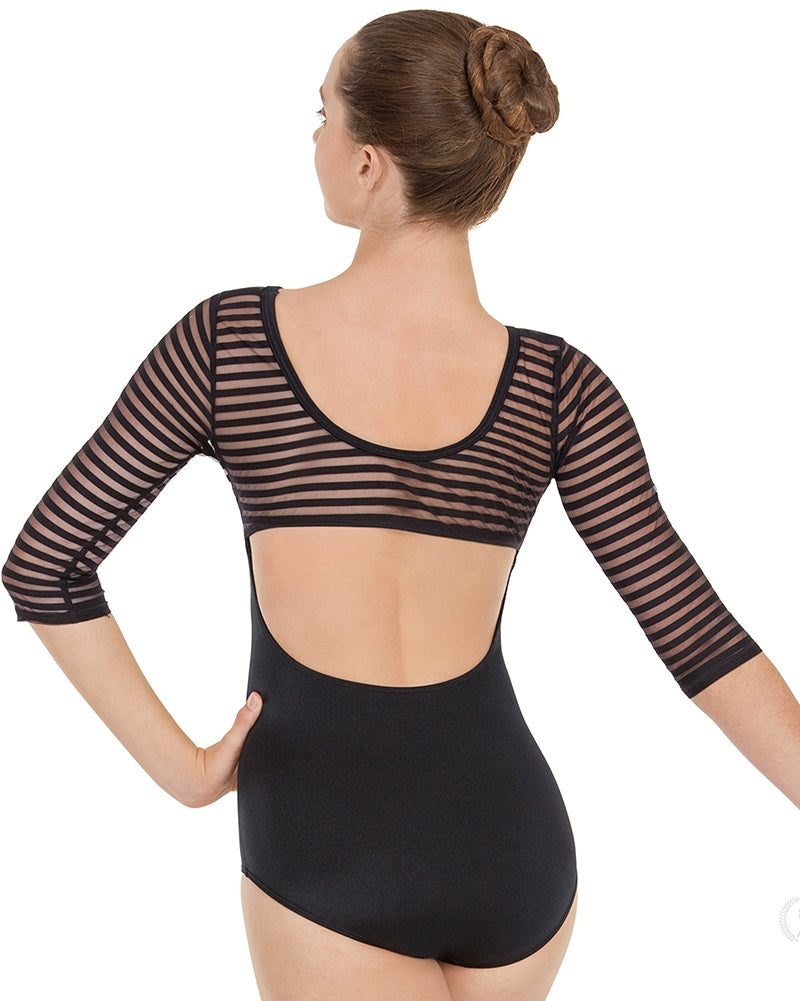 Eurotard Striped Satin Mesh 3/4 Sleeve Leotard - 61751 Womens - Dancewear - Bodysuits & Leotards - Dancewear Centre Canada