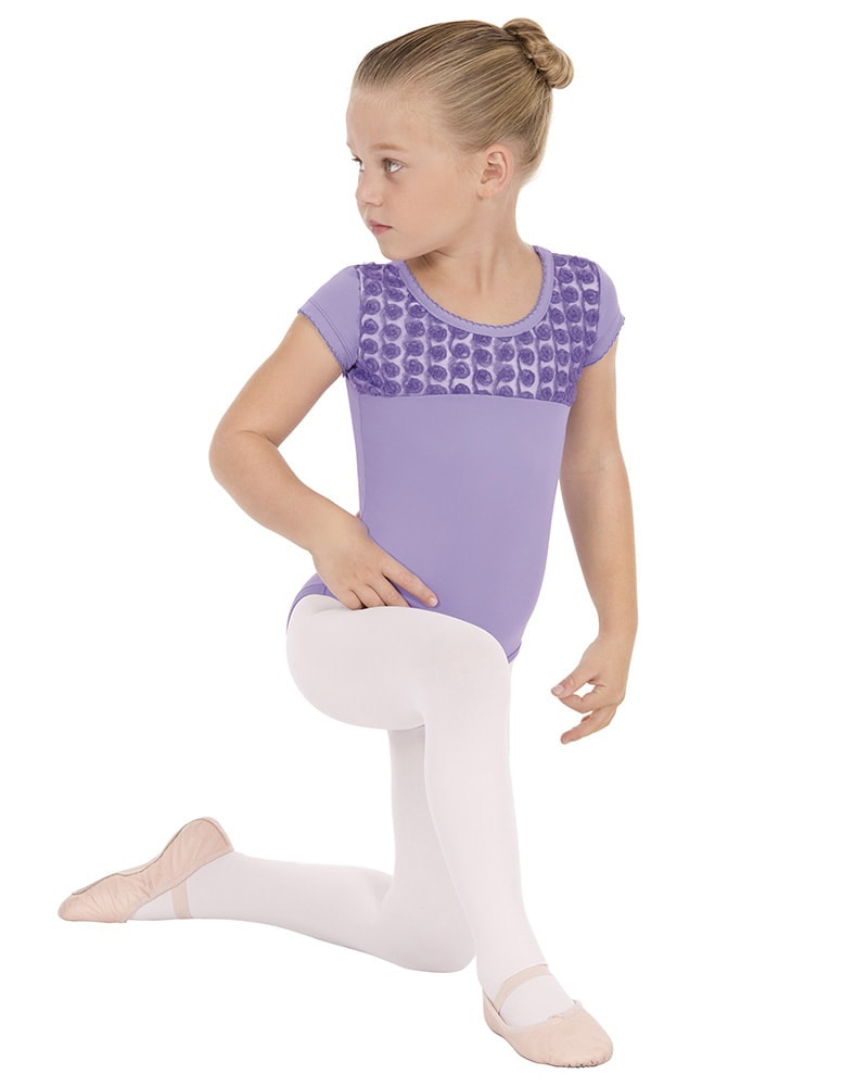 Eurotard Rosette Mesh Overlay Short Sleeve Leotard - 33199 Girls - Dancewear - Bodysuits & Leotards - Dancewear Centre Canada
