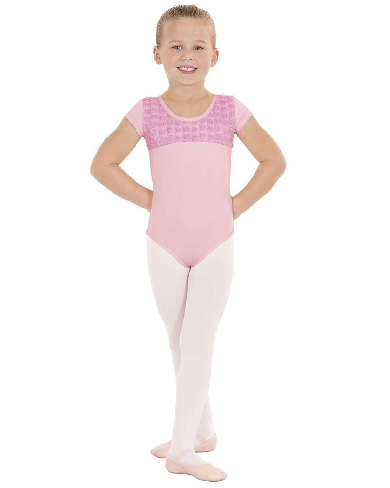 Eurotard Rosette Mesh Overlay Short Sleeve Leotard - 33199 Girls