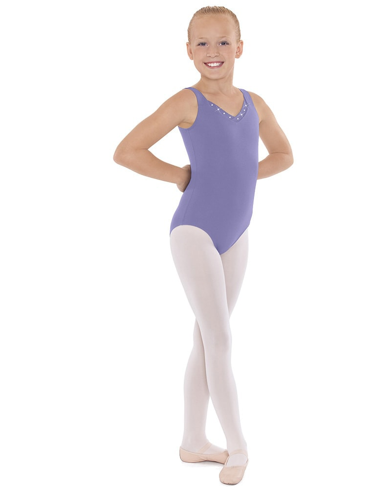 Eurotard Crystal Accent V-Neck Sleeveless Leotard - 33916C Girls - Dancewear - Bodysuits & Leotards - Dancewear Centre Canada