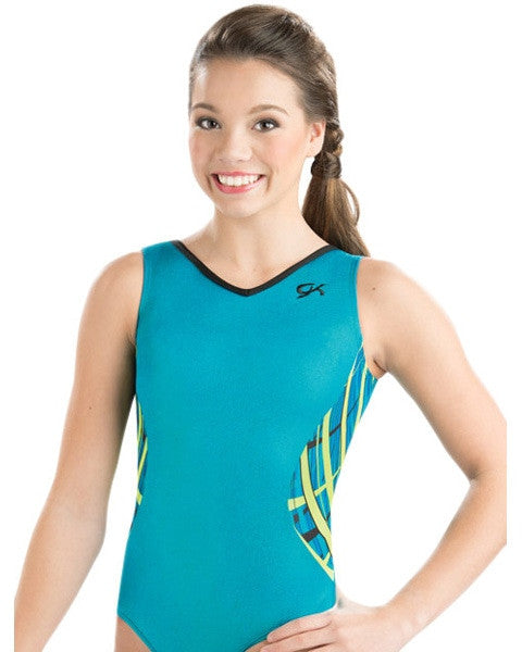 GK Elite Sparkle Gymnastic Tank Leotard - 3771C Girls - Misty Sea Print - Dancewear - Gymnastics - Dancewear Centre Canada