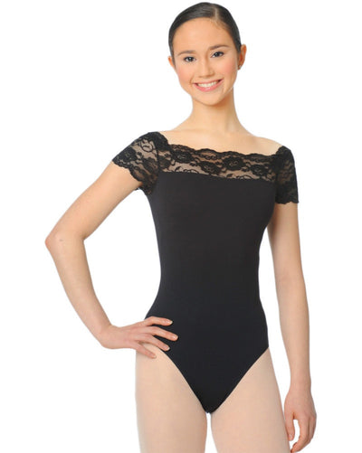 Gaynor Minden - Lace Insert Cap Sleeve Leotard Womens - Dancewear - Bodysuits & Leotards - Dancewear Centre Canada