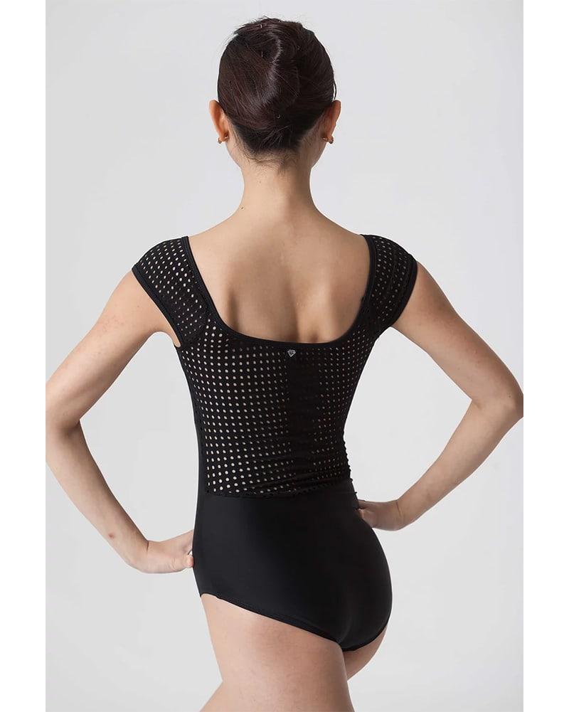 Jule Dancewear Cabochon Dot Mesh Short Sleeve Leotard - Womens - Black