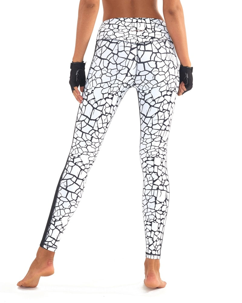 L'urv Work it Out Legging - Womens - White Crackle Print - Activewear - Bottoms - Dancewear Centre Canada