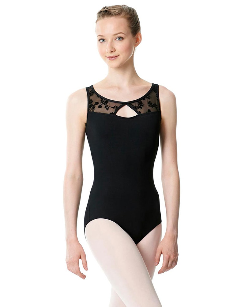 Lulli Dancewear Imogen Diamond Cut Out Floral Mesh Sleeveless Leotard - LUF468 Womens