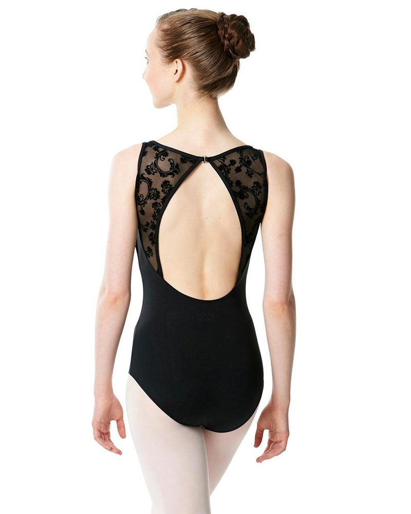 Lulli Dancewear Imogen LUF468 - Diamond Cut Out Floral Mesh Sleeveless Leotard Womens