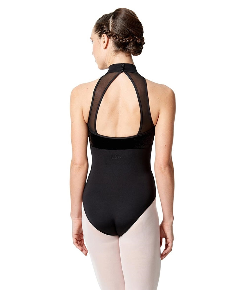 Lulli Dancewear Kaira Velvet Mesh Mock Neck Sleeveless Leotard - LUF508 Womens - Dancewear - Bodysuits & Leotards - Dancewear Centre Canada