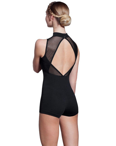 Lulli Dancewear Kelly LUF444 - High Neck Striped Mesh Biketard Womens - Dancewear - Bodysuits & Leotards - Dancewear Centre Canada