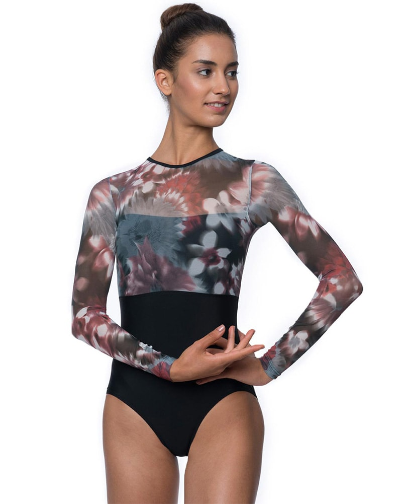 Lulli Dancewear Melanie Printed Overlay Long Sleeve Leotard - LUF426 Womens - Floral Mesh Print - Dancewear - Bodysuits & Leotards - Dancewear Centre Canada