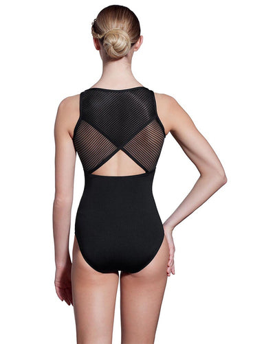Lulli Dancewear Stephanie LUF442 - Striped Mesh Triangle Cutout Sleeveless Leotard Womens - Dancewear - Bodysuits & Leotards - Dancewear Centre Canada