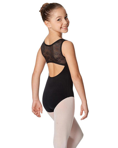 Lulli Dancewear Tara LUF483C - Floral Mesh Open Back Sleeveless Leotard Girls - Dancewear - Bodysuits & Leotards - Dancewear Centre Canada