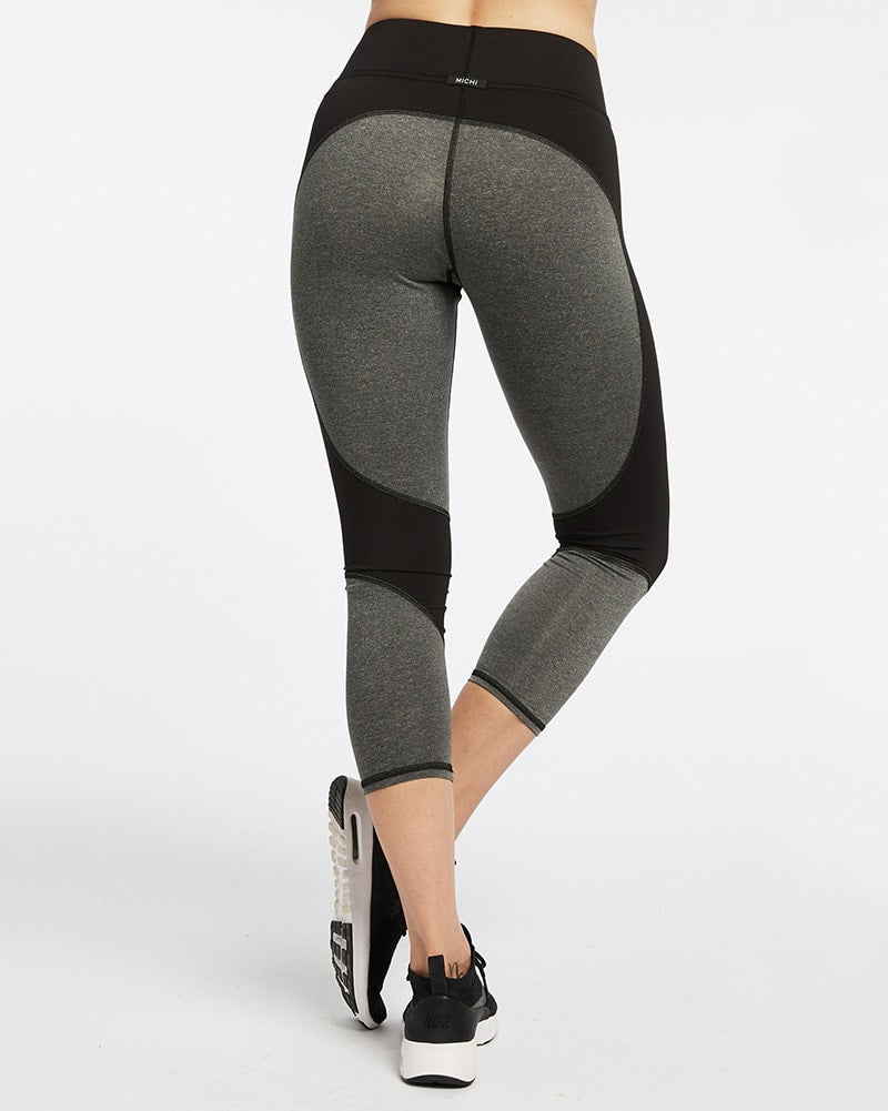Michi - Impulse Crop Legging Grey/Black Womens