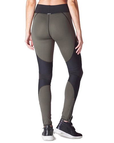 Michi - Moto Zip Legging Olive Womens - Activewear - Bottoms - Dancewear Centre Canada