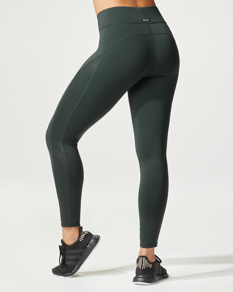 Michi Stardust Shine Legging - Womens - Forest Green - Activewear - Bottoms - Dancewear Centre Canada