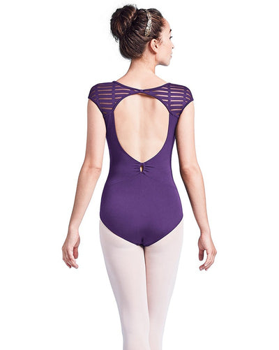Mirella M5054LM - Sheer Ladder Mesh Key Hole Back Cap Sleeve Leotard Womens - Dancewear - Bodysuits & Leotards - Dancewear Centre Canada