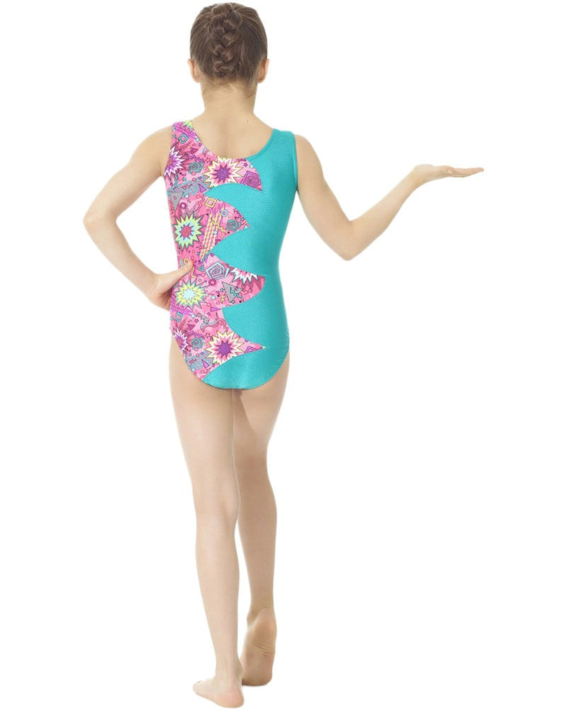 Mondor 7877C - Toned Cut Out Flash Print Gymnastic Tank Leotard Girls