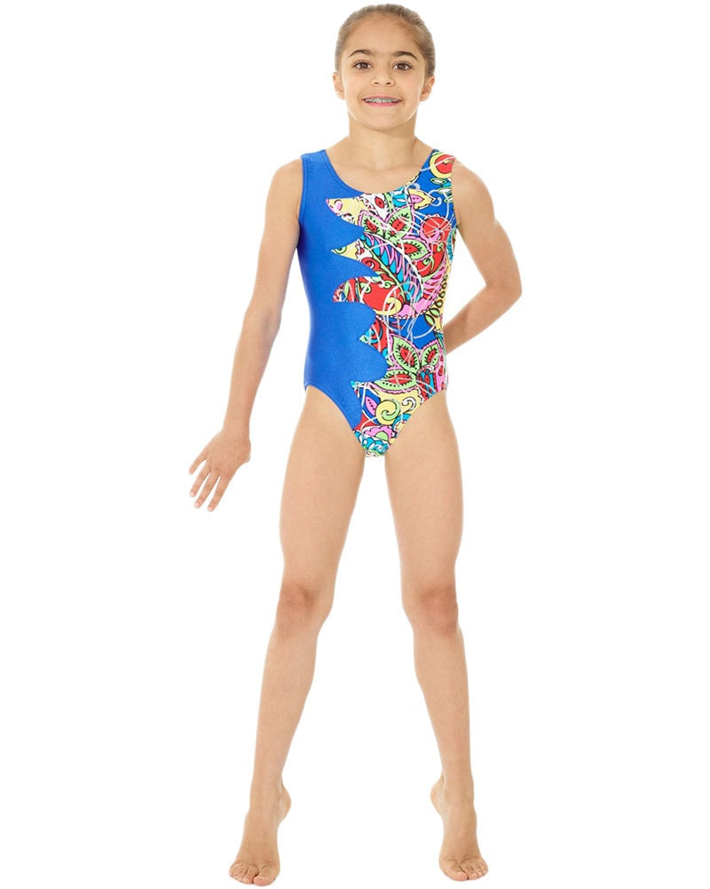 Mondor Toned Print Cut Out Gymnastic Tank Leotard - 7877C Girls