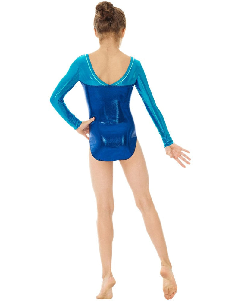 Mondor Metallic Toned Gymnastic Long Sleeve Leotard - 7890C Girls - Print