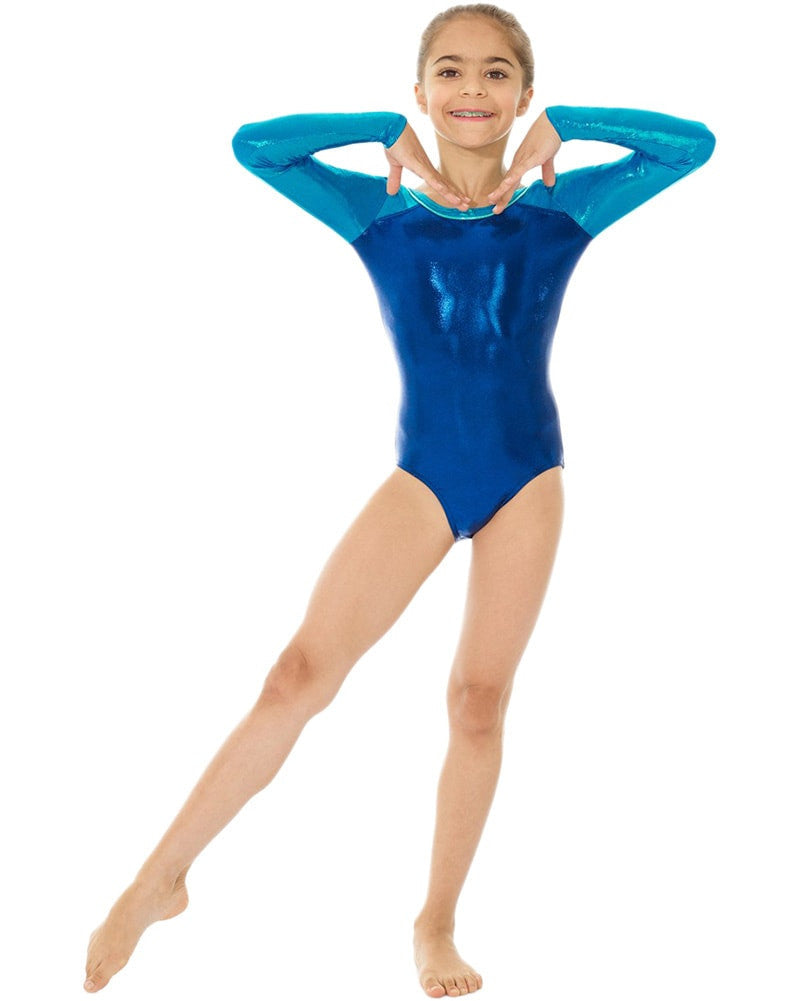 86bd5a269 Mondor 7890C - Metallic Toned Gymnastic Long Sleeve Leotard Girls ...