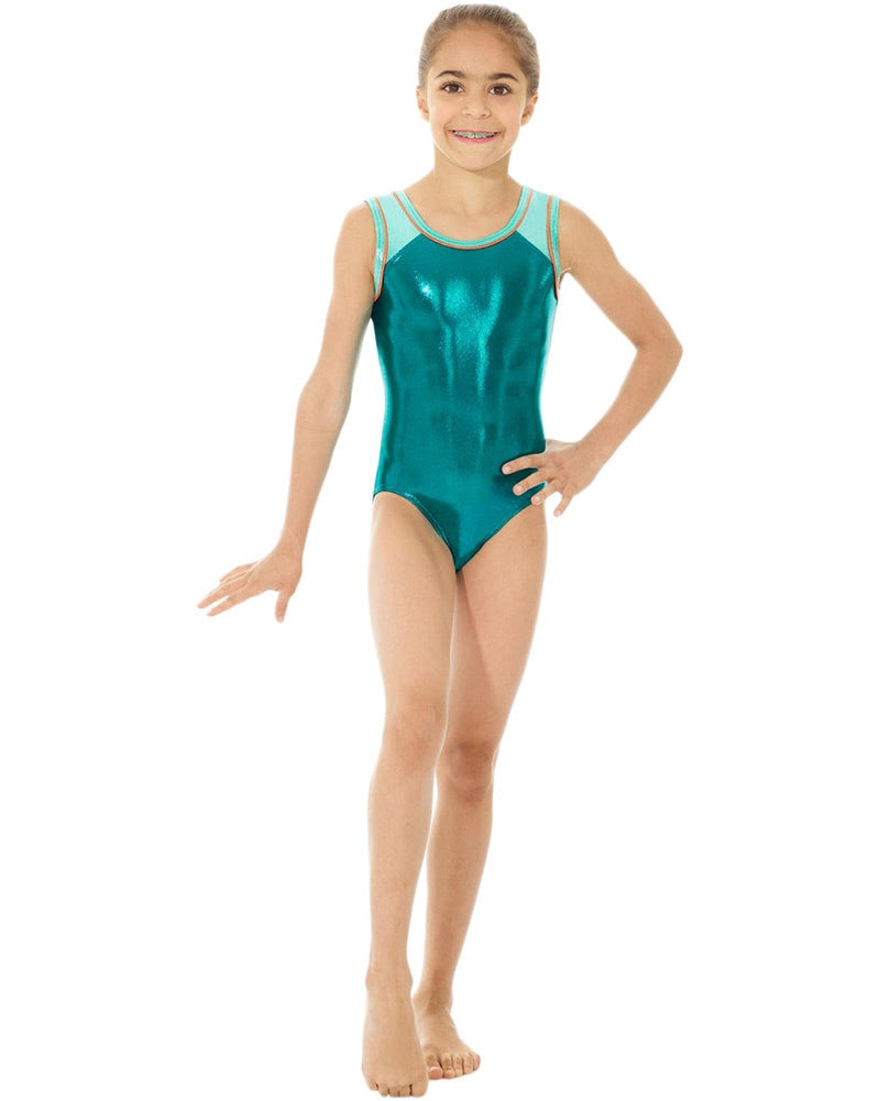 Mondor Metallic Toned Gymnastic Tank Leotard - 7891C Girls - Multi Colour