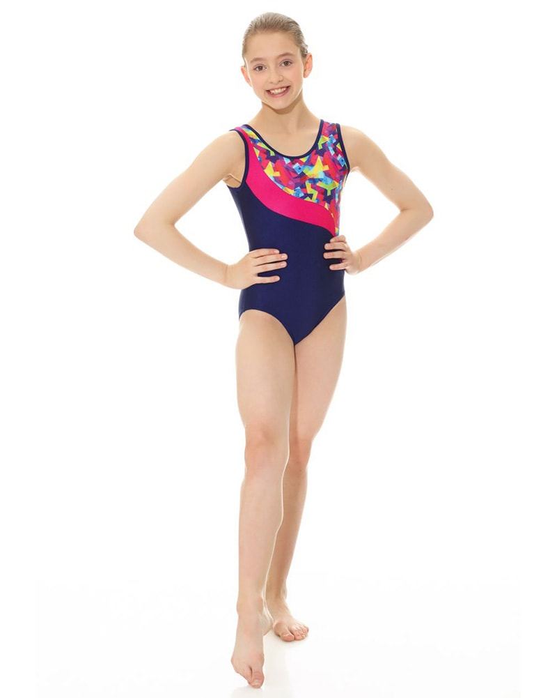 Mondor Combination Swirl Print Gymnastic Tank Leotard - 17804C Girls