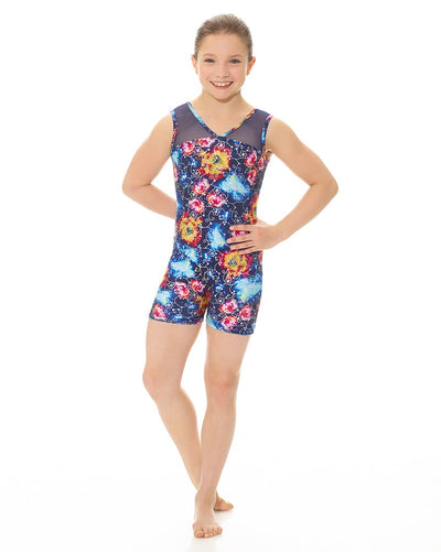 Mondor 17816C - Combination Print Gymnastic Mesh Tank Biketard Girls - Dancewear - Gymnastics - Dancewear Centre Canada