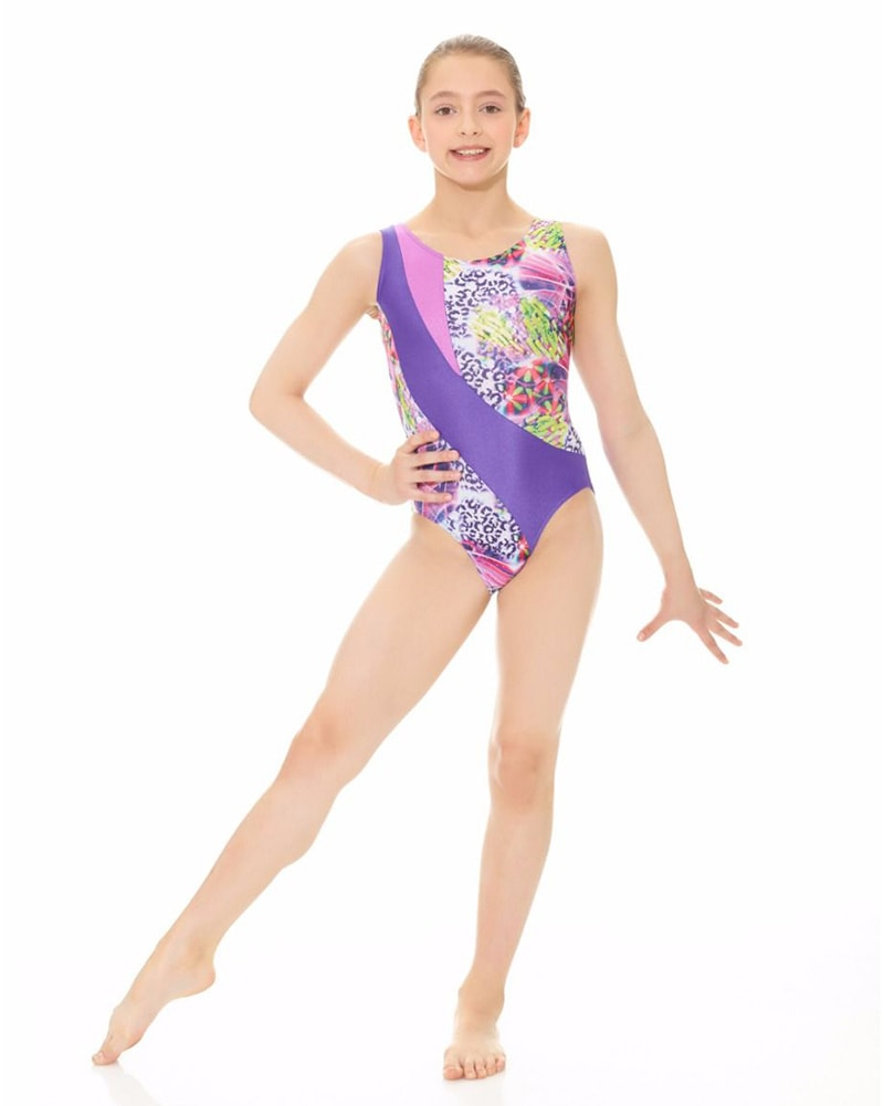Mondor Combination Print Gymnastic Tank Leotard - 17871C Girls