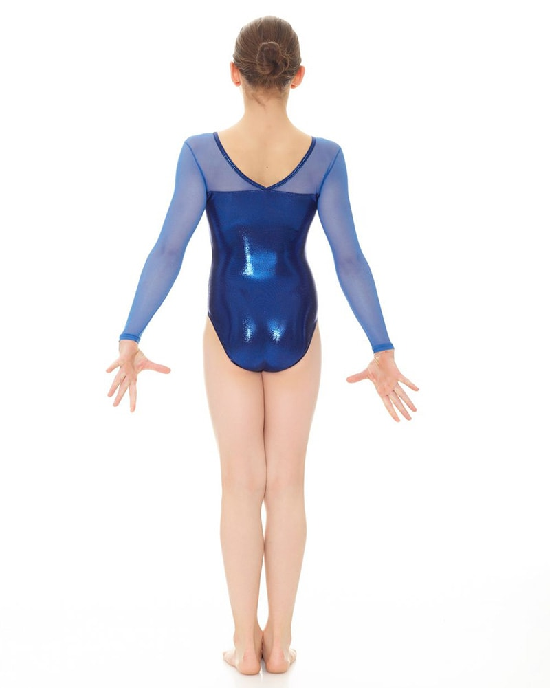 Mondor 17890 - Metallic Mesh Long Sleeve Gymnastics Leotard Girls - Dancewear - Gymnastics - Dancewear Centre Canada