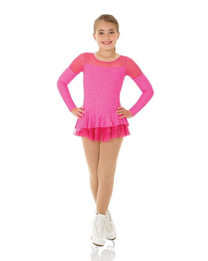 Mondor Born To Skate Printed Mesh Insert Glitter Motif Velvet Skating Dress - 2758C Girls - Coral Glitter Print - Dancewear - Skating - Dancewear Centre Canada