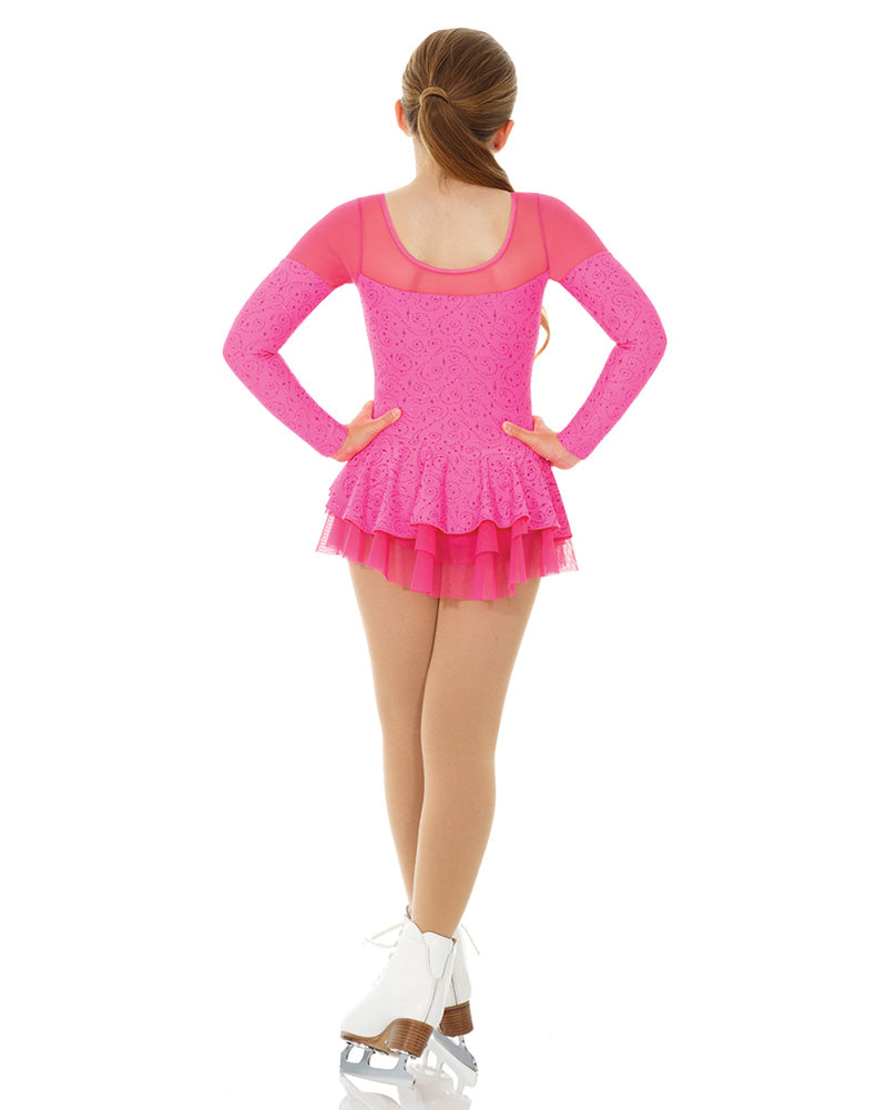 Mondor 2758C - Born To Skate Mesh Insert Glitter Motif Velvet Skating Dress Girls