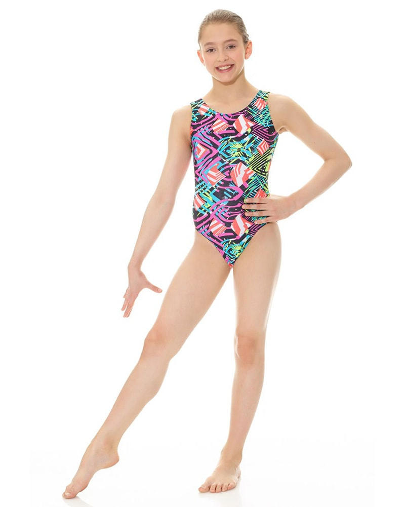 2dd3d2873eb0 Mondor 27822C - Printed Metallic Gymnastic Tank Leotard Girls - Dancewear -  Gymnastics - Dancewear Centre