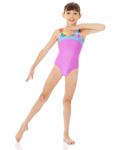 Mondor Combination Contrasting Print Gymnastic Tank Leotard - 27847C Girls - Dancewear - Gymnastics - Dancewear Centre Canada