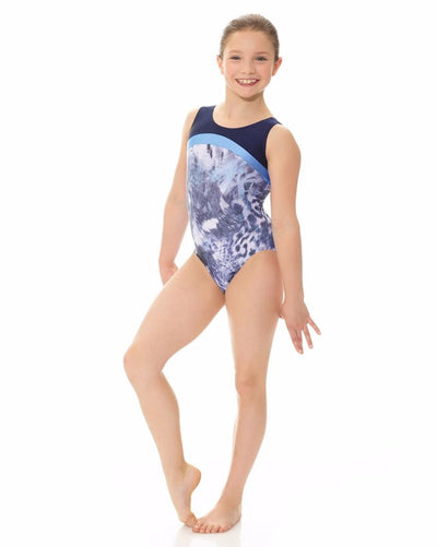 Mondor 27847C - Combination Contrasting Print Gymnastic Tank Leotard Girls - Dancewear - Gymnastics - Dancewear Centre Canada