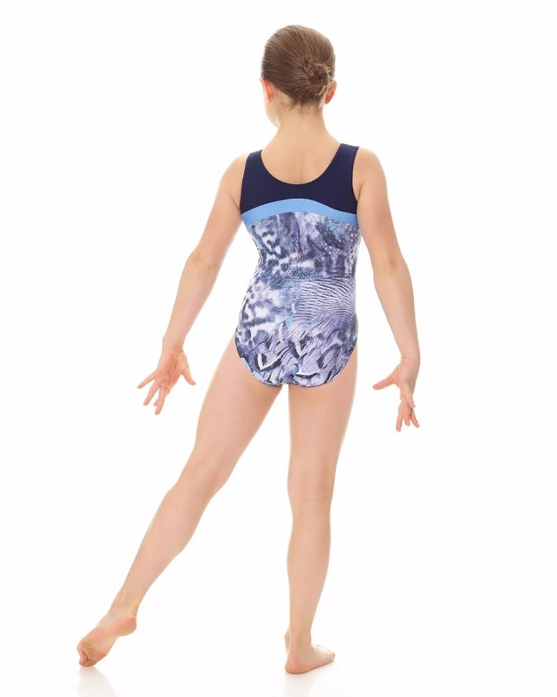 Mondor Combination Contrasting Print Gymnastic Tank Leotard - 27847C Girls