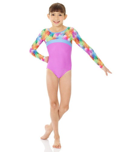 Mondor 27848C - Printed Cross Panel Gymnastic Long Sleeve Leotard Girls - Dancewear - Gymnastics - Dancewear Centre Canada