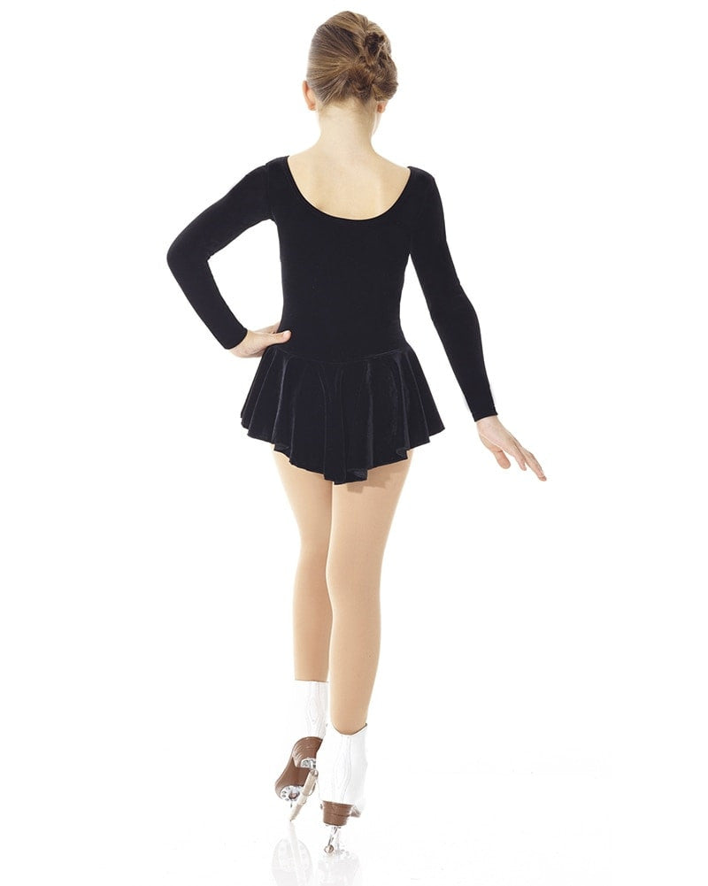 Mondor Born To Skate Velvet Skating Dress - 2850C Girls - Black - Dancewear - Skating - Dancewear Centre Canada