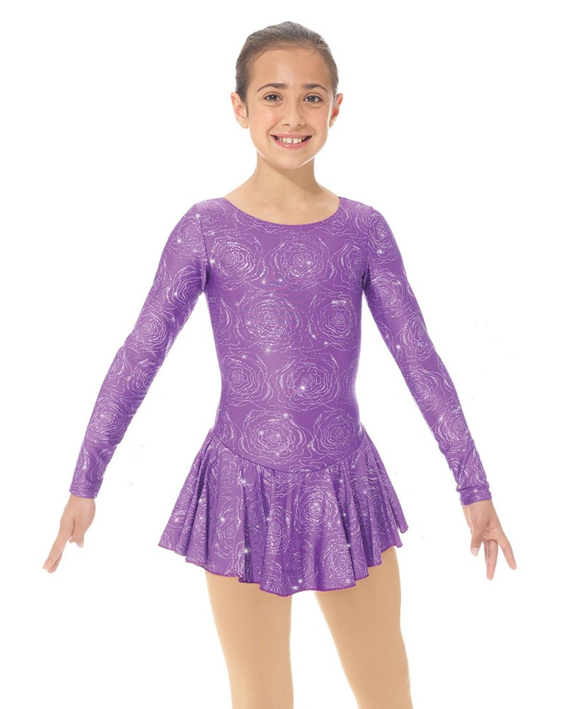 Mondor Born To Skate Printed Mesh Back Glitter Nylon Skating Dress - 666C Girls - Purple Peony Print
