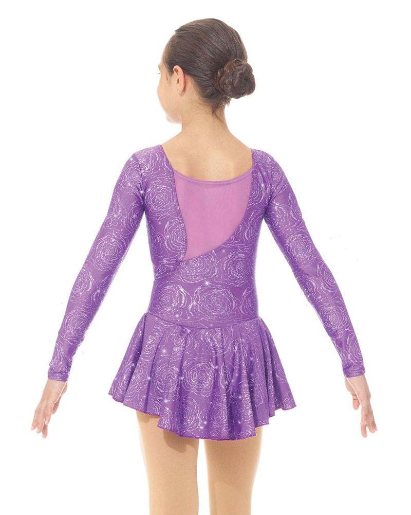 Mondor Born To Skate Printed Mesh Back Glitter Nylon Skating Dress - 666C Girls - Purple Peony Print - Dancewear - Skating - Dancewear Centre Canada