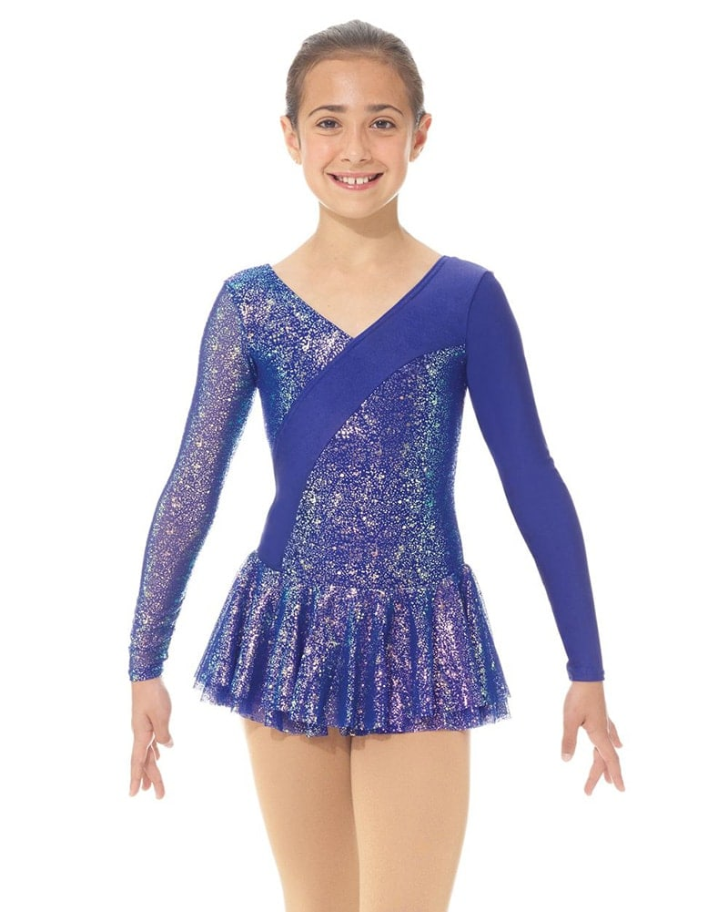 Mondor Fantasy On Ice Glitter Nylon Skating Dress - 667C Girls - Sapphire Glitter Print - Dancewear - Skating - Dancewear Centre Canada