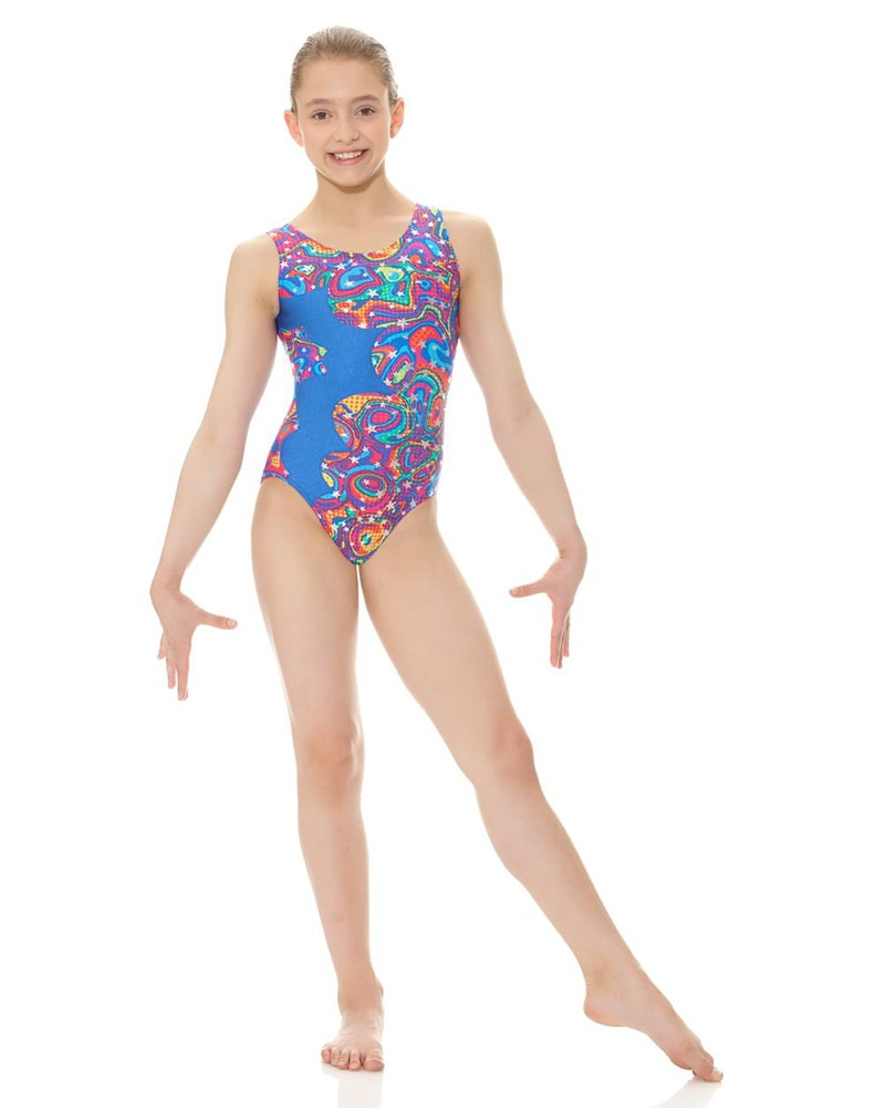 Mondor Printed Cut Out Gymnastic Tank Leotard - 7876C Girls - Dancewear - Gymnastics - Dancewear Centre Canada
