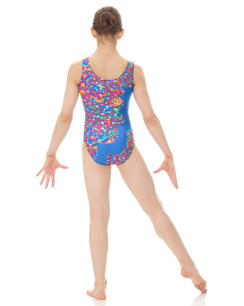 Mondor 7876C - Cut Out Flash Print Gymnastic Tank Leotard Girls - Dancewear - Gymnastics - Dancewear Centre Canada