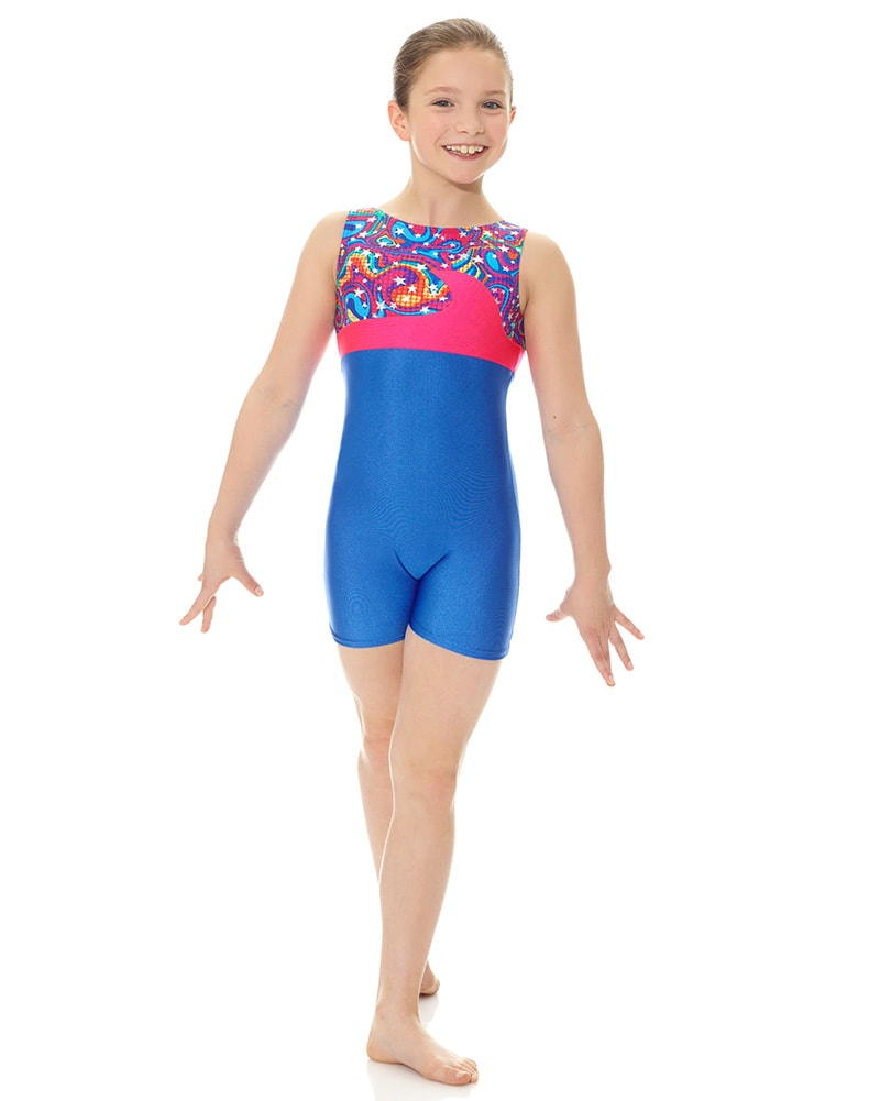 132262c4382a Mondor 7878C - Wave Flash Print Gymnastic Tank Biketard Girls - Dancewear -  Gymnastics - Dancewear