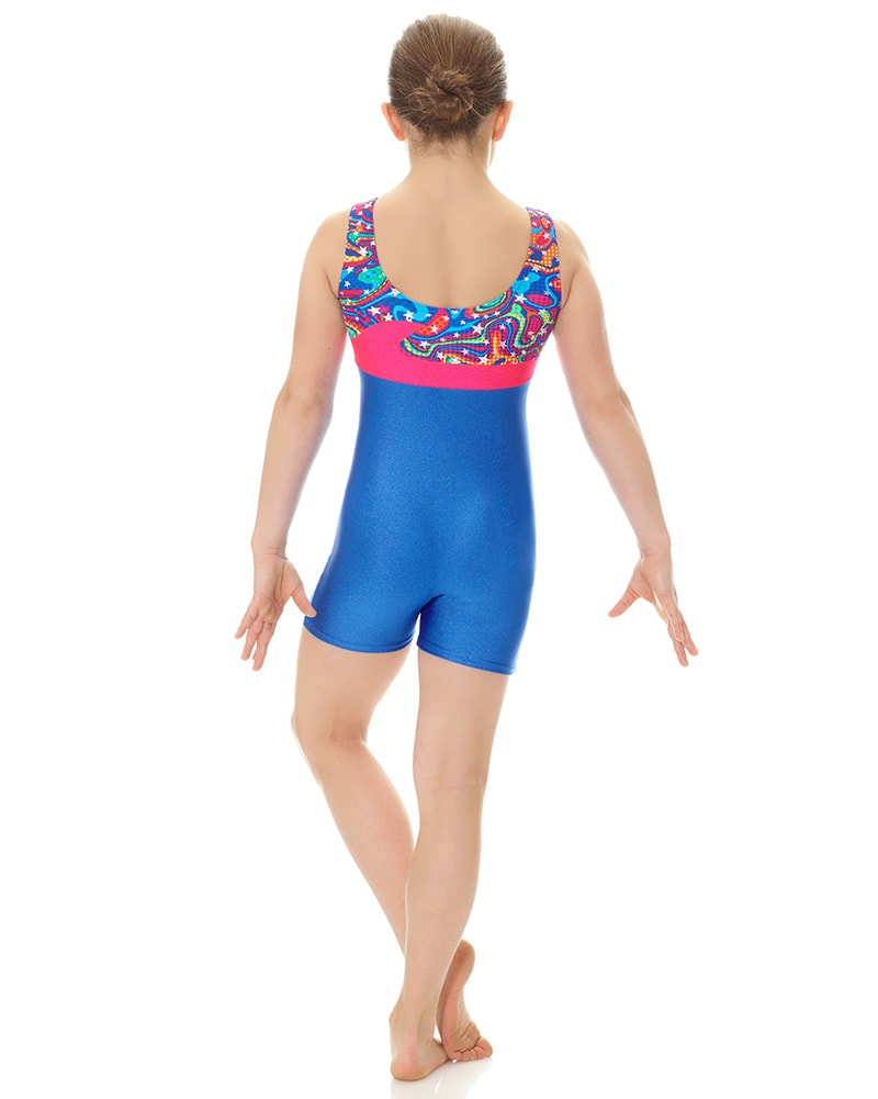 Mondor Wave Print Gymnastic Tank Biketard - 7878C Girls
