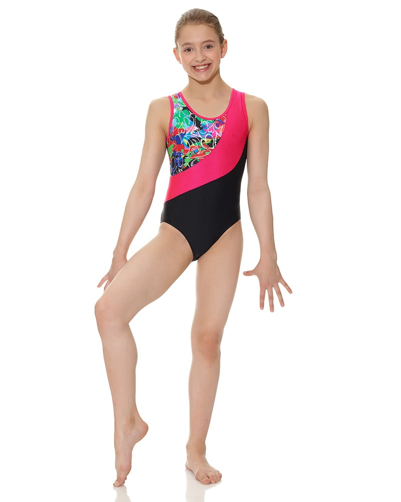 Mondor Combination Swirl Print Gymnastic Tank Leotard - 7886C Girls - Dancewear - Gymnastics - Dancewear Centre Canada