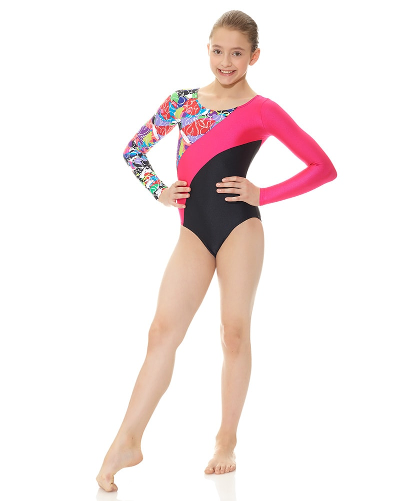 Mondor Combination Print Gymnastic Long Sleeve Leotard - 7887C Girls - Dancewear - Gymnastics - Dancewear Centre Canada
