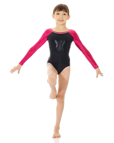 Mondor 7890C - Metallic Toned Gymnastic Long Sleeve Leotard Girls - Dancewear - Gymnastics - Dancewear Centre Canada