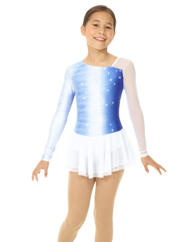 Mondor Born To Skate Mesh Long Sleeve Skating Dress - 670C Girls - Sapphire/White Print - Dancewear - Skating - Dancewear Centre Canada
