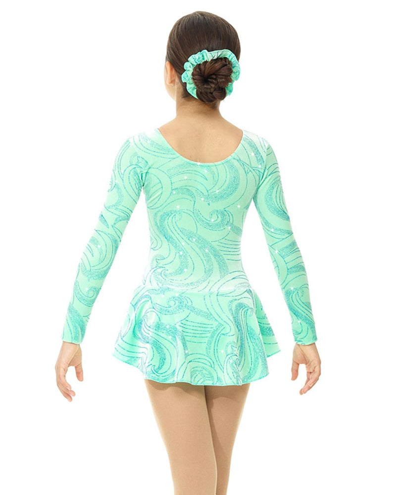 Mondor Born To Skate Printed Glitter Motif Velvet Skating Dress - 2723C Girls - Icy Mint Print - Dancewear - Skating - Dancewear Centre Canada