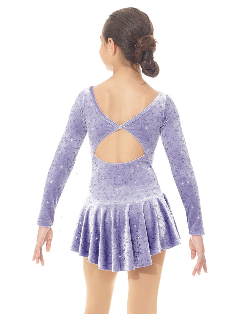 Mondor Born To Skate Printed Glitter Motif Velvet Skating Dress - 2759C Girls - Loops Print - Dancewear - Skating - Dancewear Centre Canada