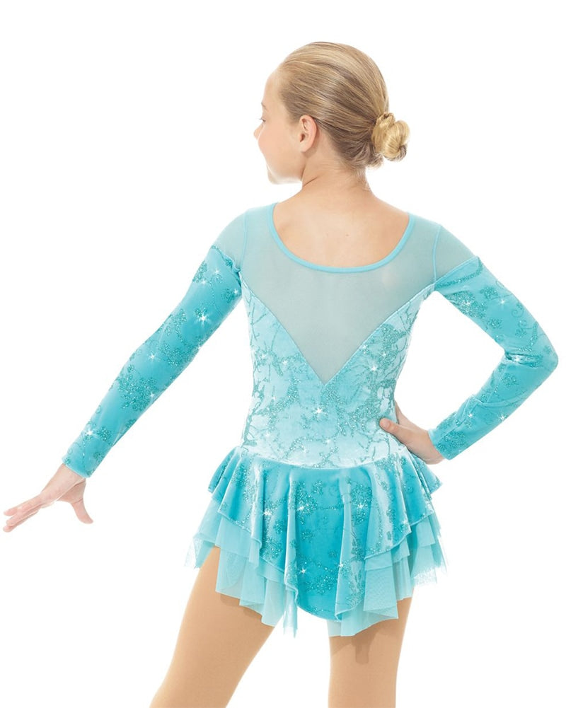 Mondor Born To Skate Printed Mesh Insert Glitter Motif Velvet Skating Dress - 2765C Girls - Aqua Flowers Print - Dancewear - Skating - Dancewear Centre Canada